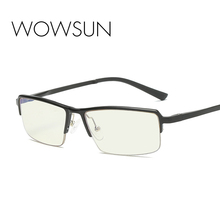WOWSUN Computer Photochromic Glasses Aluminum Magnesium Frame Anti-fatigue Men B