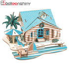 BalleenShiny Baby 3D DIY Wooden Puzzle Toys Children Educational Craft Toys Bali Holiday Home Model Funny Kids Gift Jigsaw Toy