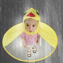 Rain Ponchos Children's Raincoat UFO Children Umbrella Hat Magical Hands Free Cover Funny Baby Rain Coat Outdoor Play Supplies