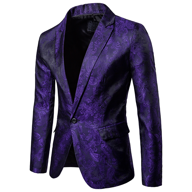 Spring And Autumn Mens Flower Coats Fashion Casual Blazer Black Red Purple Men Suit Jacket M L XL XXL XXXL