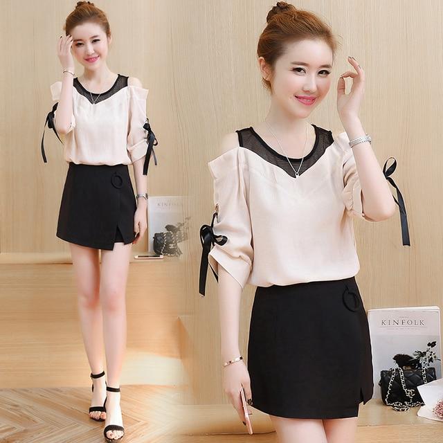 a1069f12e US $39.88 |korean fashion two piece clothing set women dew shoulder clothes  summer blouse top & Package hip skirt suit lady vestido S XL-in Women's ...