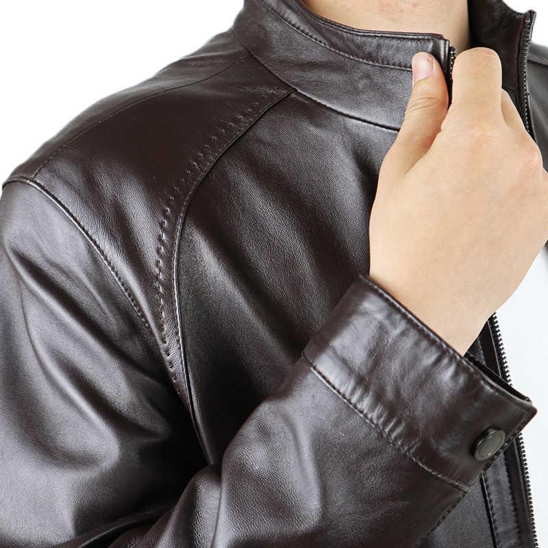 2019 мужская куртка из натуральной кожи Повседневная и мотоциклетная кожаная куртка