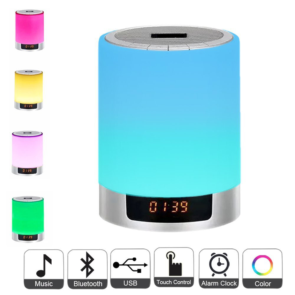 Night Lights Bluetooth Speaker Bedside Lamp Touch Control Alarm Clock Color LED Color Changing Wireless Speaker with Lights led touch color change night light motion sensor bedside lamp bluetooth speaker touch control support mobile phone app control