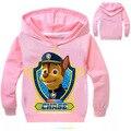 Qualidade superior caçoa o hoodie camiseta crianças menino criança roupas de manga comprida pata do cão de algodão T-shirt das crianças 2 4 6 8 10 anos Moletom Com Capuz