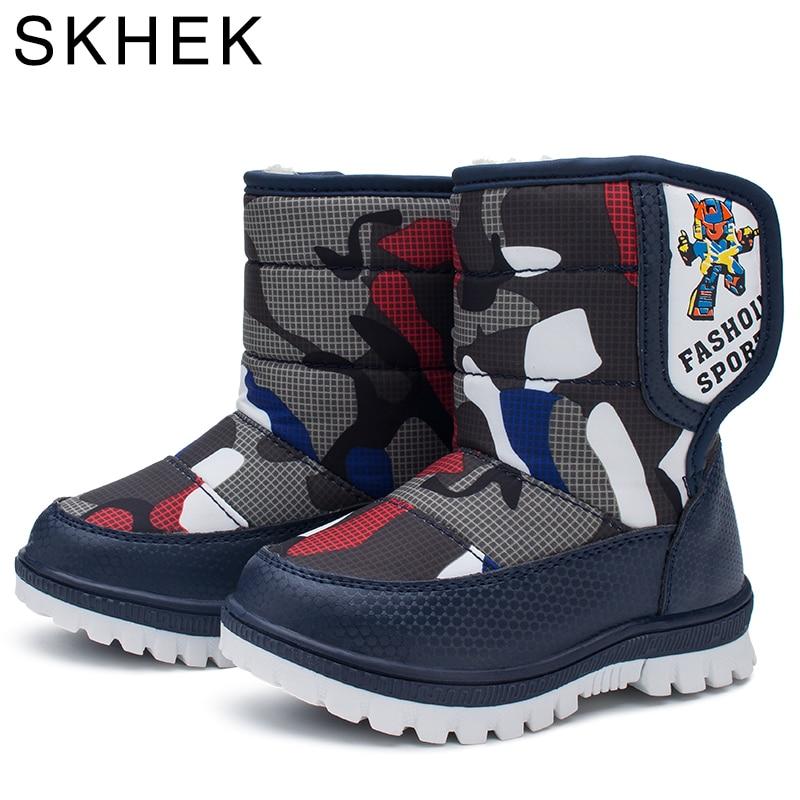 42e75d97eeec Skhek зима Обувь для девочек Обувь для мальчиков модные Сапоги и ботинки  для девочек ...
