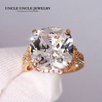 New Arrival 18K Rose Gold Plated Zirconia Micro Inlays Luxury Retro Lady Finger Ring Wholesale White