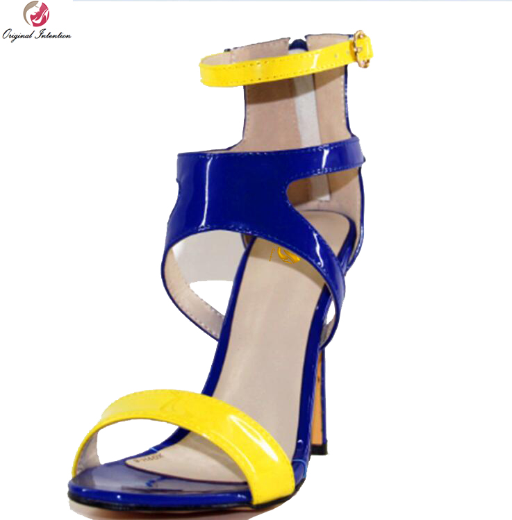 Original Intention New Fashion Women Sandals Open Toe Thin Heel Sandals Elegant Blue Yellow Shoes Woman