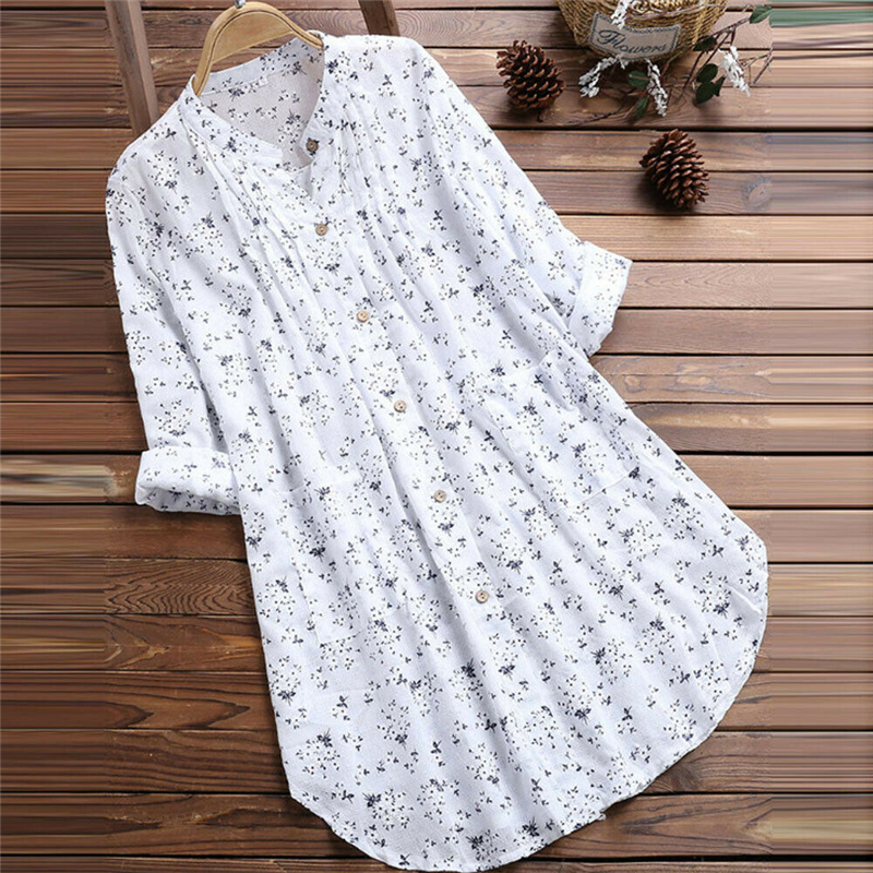 Women Boho Long Sleeve Baggy Shirt Dress Plus Size Kaftan Casual Tunic Blouse Top 2019 Floral Print Summer Fashion Clothes M-3XL