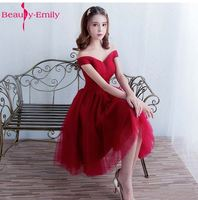 Beauty Emily Robe De Soiree Sweetheart Off the shoulder Short Bridesmaid Dress 2017 Wine Red Sexy Formal Dresses Custom Made