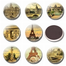 Vintage Stamps Refrigerator Magnets 30MM Magnet Fridge Glass Ornaments French Attractions Eiffel Magnetic Stickers for