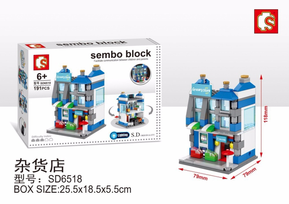 4pcs SD6516-6519 New Mini Street View Building Block Museum Have Light Compatible With Lepin City Toys Free shipping