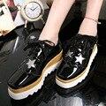 Women Platform Oxfords Brogue Wedges Shoes 2016 Brand Fashion Patent Leather Women Pumps Lace Up Bullock Casual Women Shoes 7707