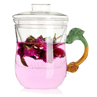 Frete grátis venda Quente pega dragão xícara de chá de vidro, copo de chá com infusor