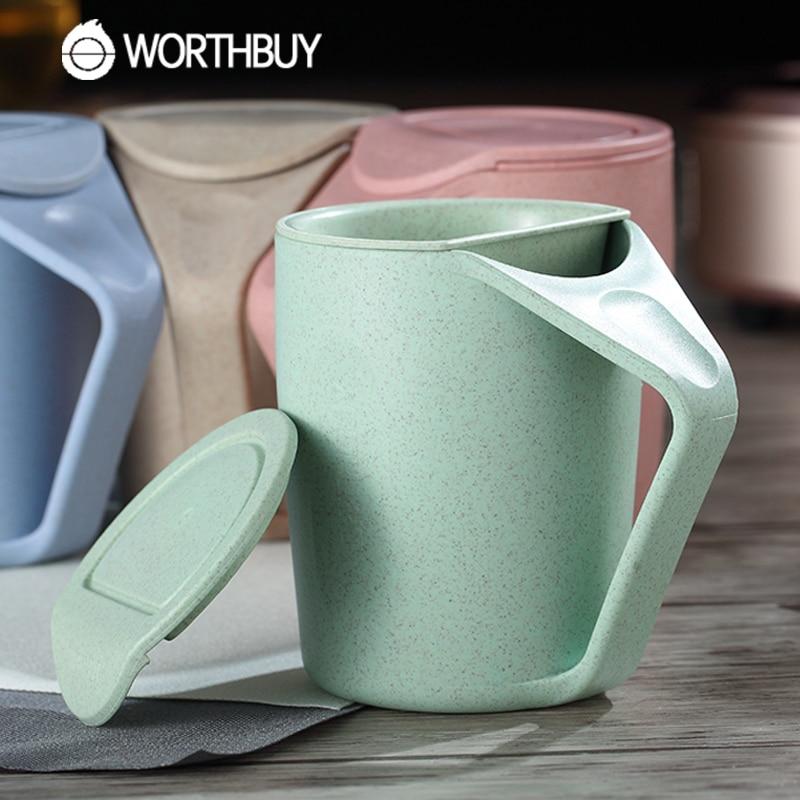 WORTHBUY 1 Pcs Creative Wheat Straw Tea Mug 480ml Plastic Tea Cup With Tea Infuser Handgrip Milk Coffee Mug For Kids School Gift