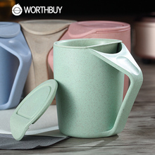 WORTHBUY 1 Pcs Creative Wheat Straw Tea Mug 480ml Plastic Tea Cup