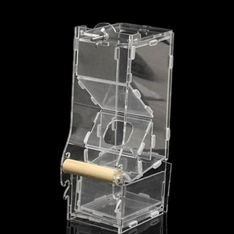 Mangeoire pour oiseaux Portable cage perroquet Transparent canari oiseau boîte Pigeon fournitures cage accessoires dispositifs d'alimentation pour l'extérieur