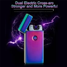 Kreative feuerzeuge Doppel Arc Pulsed Arc Schlank Winddicht Leichter Kreative Persönlichkeit Elektronik USB Feuerzeuge für Männer Geschenk
