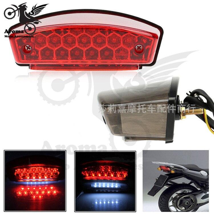 free shipping 1 PCS red grey lens smoke parts scooter warning signal light motorbike brake light moto tail light motorcycle LED