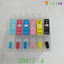 T0811 - T0816 Refillable Ink Cartridge For Epson Stylus photo T50 R270 R290 R390 R610 RX590 RX690 TX700W TX800W Printer цена