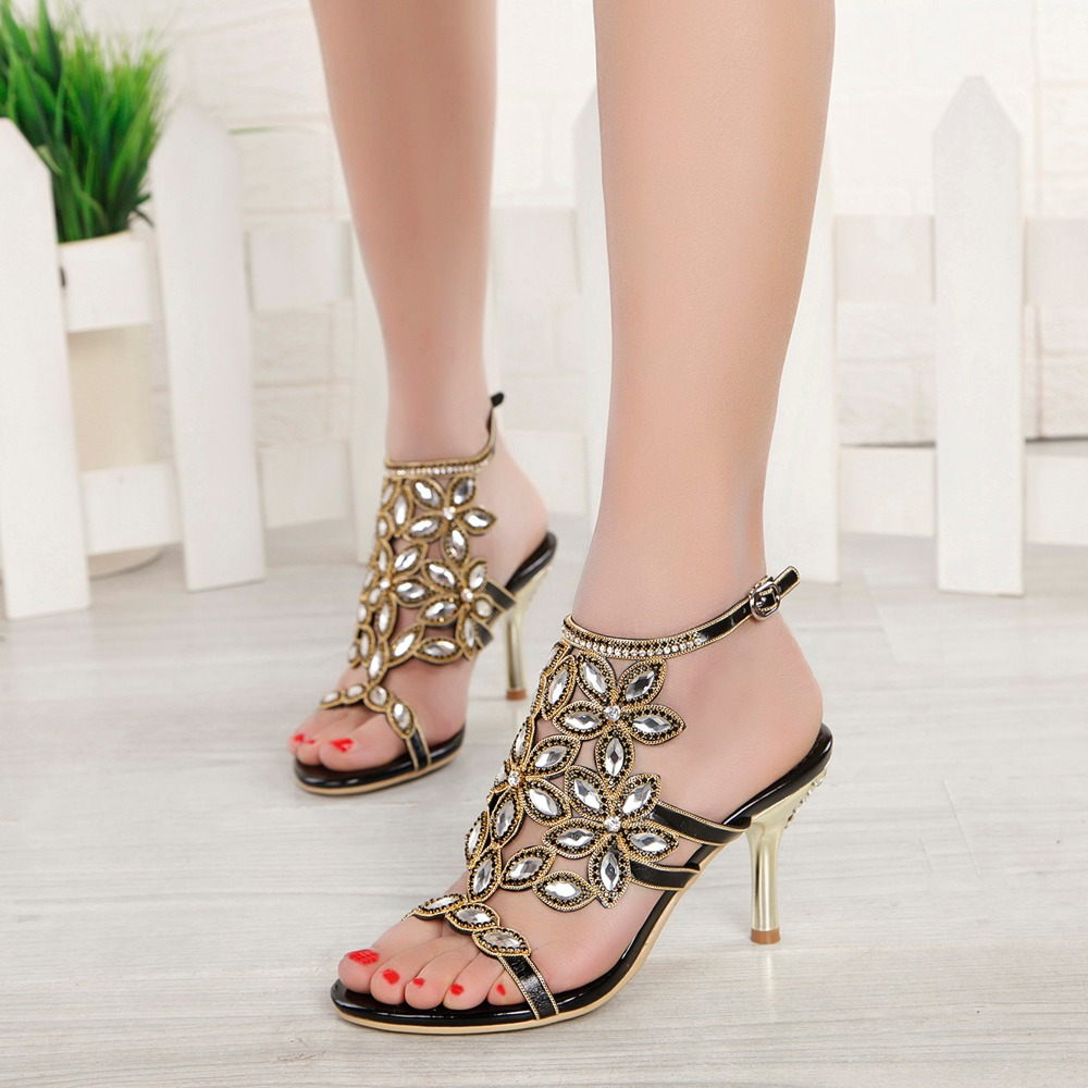 2017 Summer Elegance Girl Bohemia Floral Rhinestone Metal Thin High Heels Women Sexy Crystal Sandals Woman Party Wedding Shoes