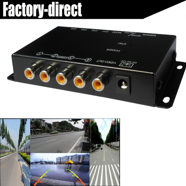 4 way car Composite RCA Video Splitter Distribution support car rear