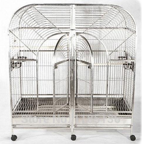 Grande taille 304 Cage à perroquet en acier inoxydable Double Cage à oiseaux amazones 64 ''* 25'' * 70 ''ST69DA