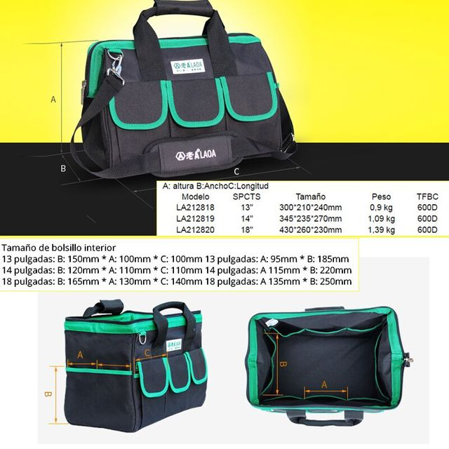 1pcs LAOA 600D Tool bag Electrician Large capacity Repair tool kit water proof bags storage for Electricians Tools 1