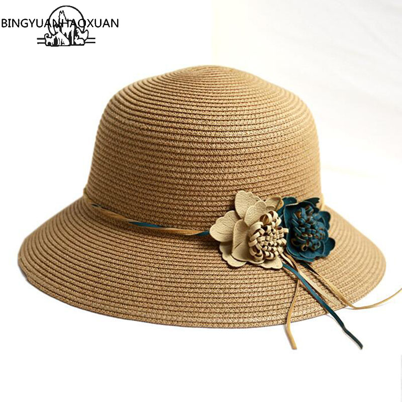BINGYUANHAOXUAN New Hot Sale Summer Fashion Hat For Women Flower Hat Girls Spring and Summer Capeline Beach Hat Straw Hats