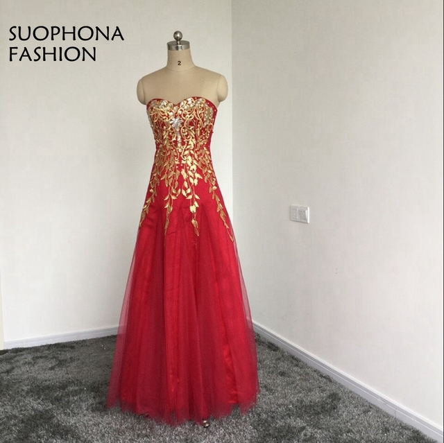New Arrival abendkleider Red Tulle A Line Long evening dress Beaded ...