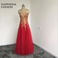 New Arrival abendkleider Red Tulle A-Line Long evening dress Beaded Embroidery Kaftan Evening gown Plus size vestido de festa