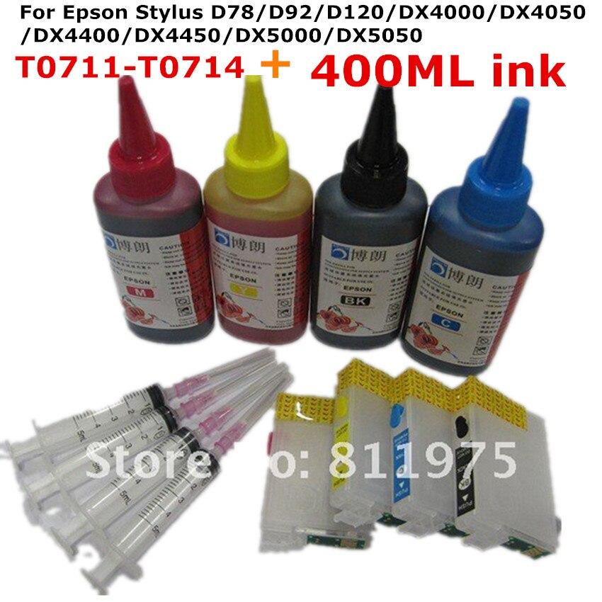 T0711 Nachfüllbare tintenpatrone für EPSON Stylus D78 D92 D120 DX4000 DX4050 DX4400...