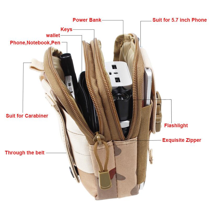 Uniwersalny Odkryty Wojskowy Molle Tactical Kabura Pasa Biodrowego Pasa Torba portfel kieszonki kiesy telefon etui z zamkiem błyskawicznym na iphone 7/lg 7
