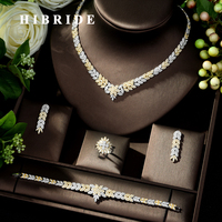 HIBRIDE New Arrival AAA Cubic Zircon Necklace Earrings Jewelry Set Two color Bride Wedding Jewelry Dress Accessories N 206