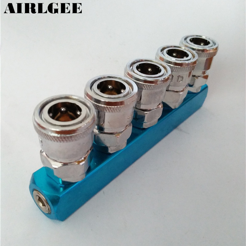 1/4NPT Female Thread Inlet Port 5Way Pass Manifold Block Air Hose Pipe Quick Coupler air compressor 1 2bsp 2 way hose pipe inline manifold block splitter teal blue