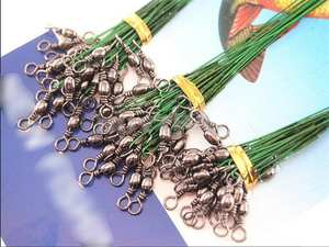 Coated Wire-Spinner Snaps Trace-Lure Fishing 72-Pcs Leader-Hooks Swivel-Interlock Stainless-Steel