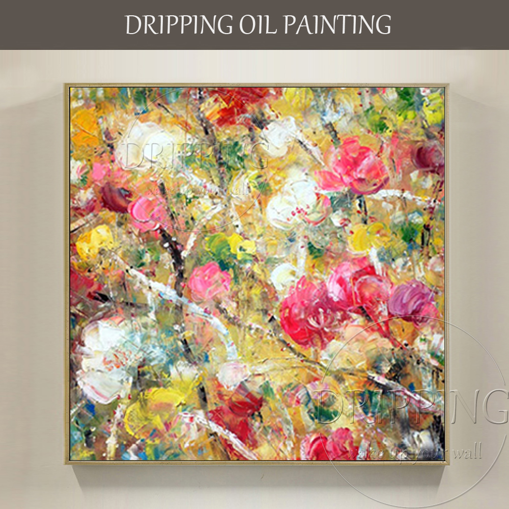Skilled Artist Hand-painted High Quality Abstract Flower Oil Painting on Canvas Rich Colors Abstract Oil Painting for Wall Decor