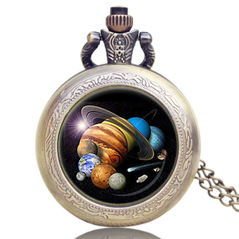 Solar System Theme Glass Dome Pendant Necklace Fob Pocket Watch Gift For Birthday Christmas Free Shipping doctor who series glass dome bronze quartz pendant pocket watch with necklace chain free shipping best gift