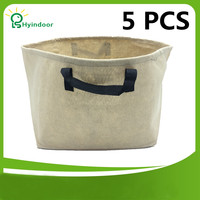 Garden Pots 10 Gallons Grow bags tan color 5pcs A Pack fabric plant bag gardening grow bag for plants with handles
