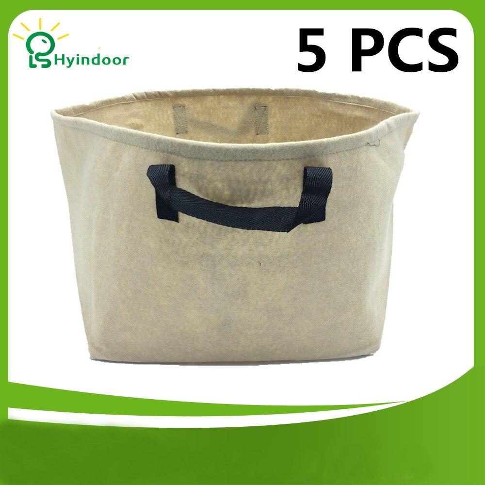 Pots de jardin 10 Gallons sacs de culture couleur beige 5 pièces un paquet sac de plante en tissu sac de jardinage pour plantes avec poignées