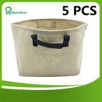Tuin Potten 10 Gallons Groeien zakken tan kleur 5 stks Een Pack stof plant tas tuinieren grow bag voor planten met handgrepen