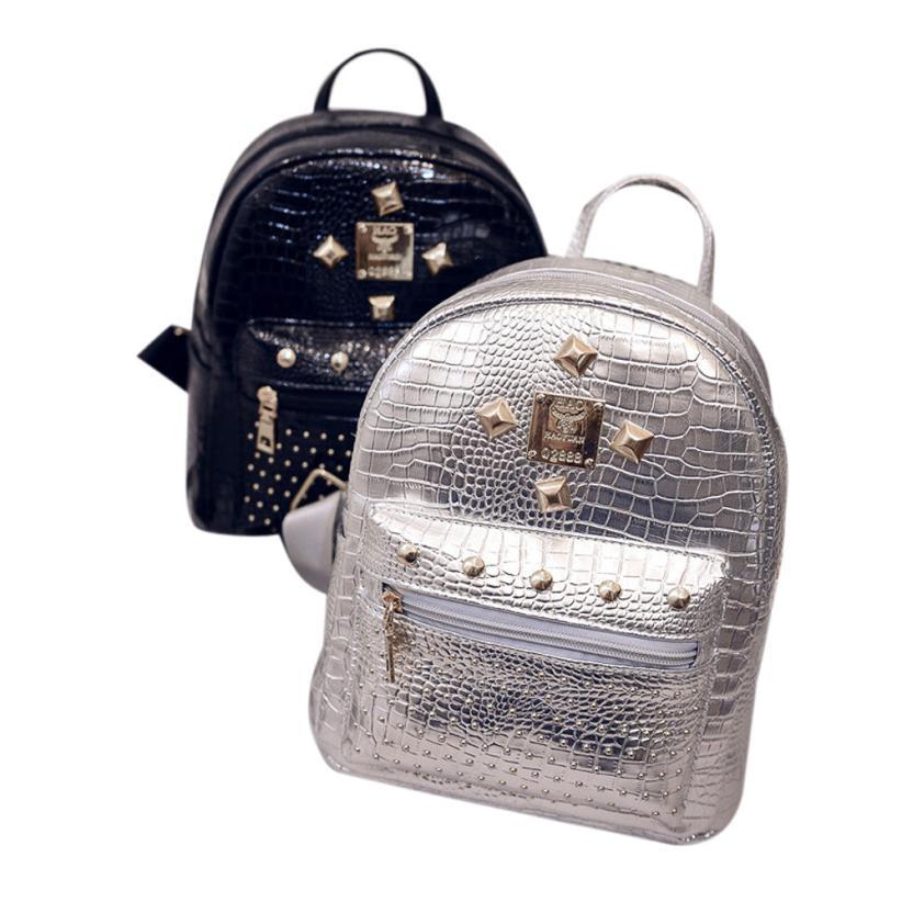 Women Backpack Solid Color Leather Rivet Travel Vintage Shoulder Bags Famous Design School bag Hot Sale