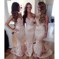 Lace Sweetheart Taffeta Long Champagne Bridesmaid Dresses 2016 Sexy Mermaid Gowns Cheap Vestido De Madrinha
