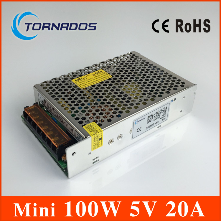 power supply 100W 5V 20A mini size ac dc converter power supply unit ms-100-5 5v variable dc voltage regulator image