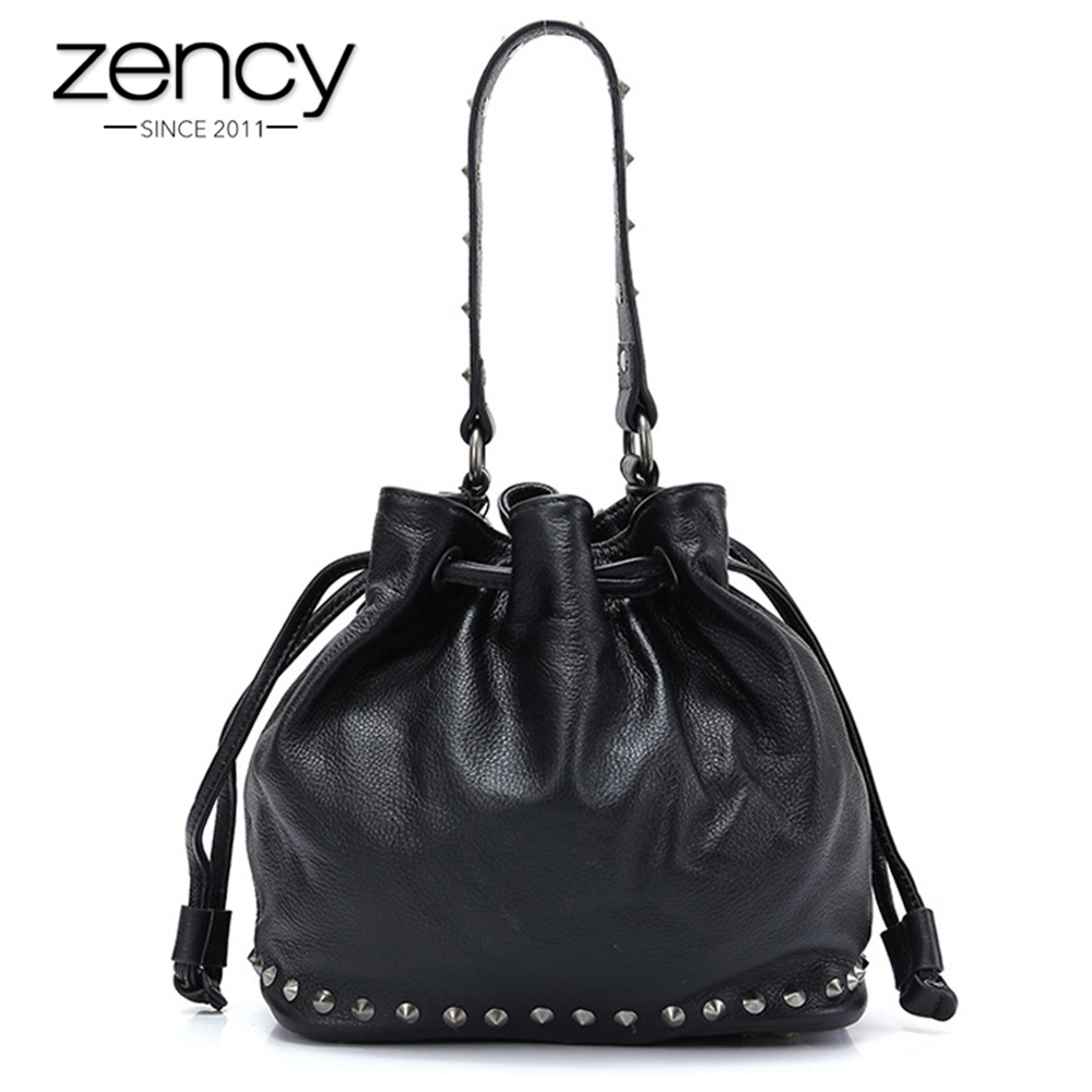 Zency New Arrivals First Layer Cowhide Leather Handbag With Rivets Fashion Lady Shoulder Bag Black Bucket