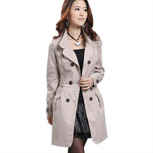 2016 Fashion Autumn Winter Ladies Womens Pocket Slim Fit Double Breasted Trench Coat Outwear Female Overcoat Manteau Femme