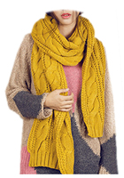 IMC Circle Cable Crochet Knit Scarf Shawl Wrap Winter Warm Cowl Neck Ginger Yellow
