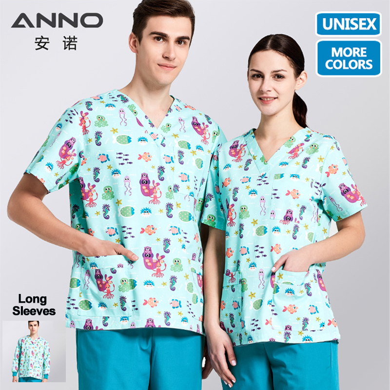 ANNO Medical Scrubs Set Cartoon Nursing Uniforms Medical Clothing Dental Clinic Nurse Costume Women Men Surgical Suit