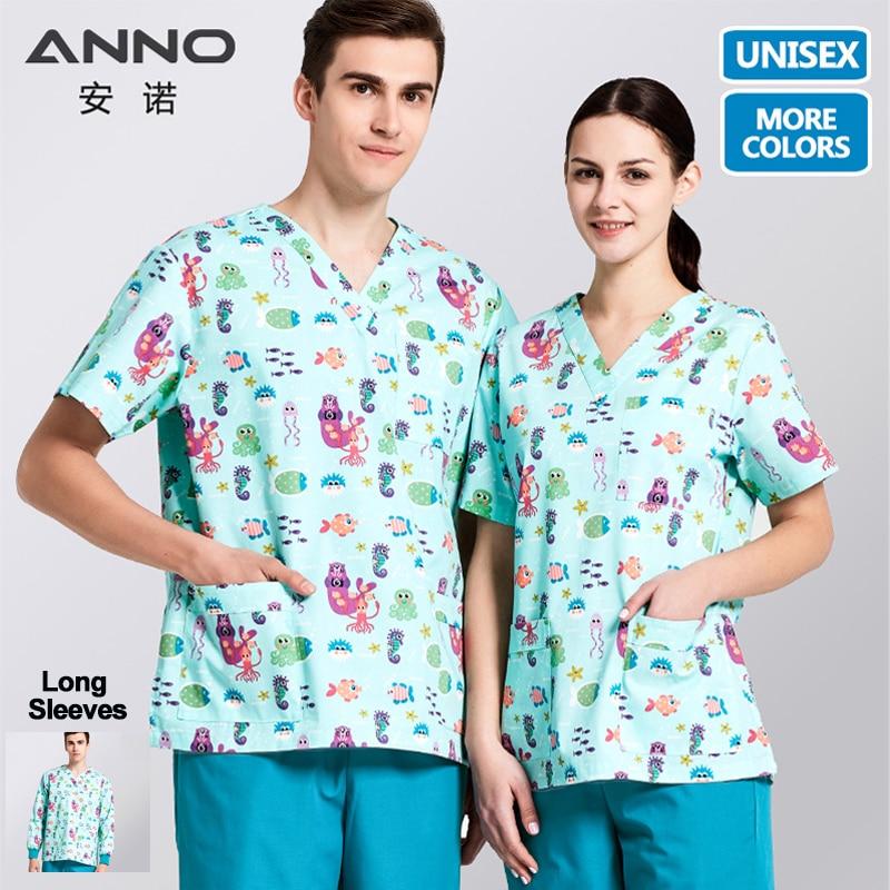 ANNO Medical Scrubs Set Cartoon Nursing Uniforms Medical Clothing Dental Clinic Nurse Costume Women Men Surgical Suit