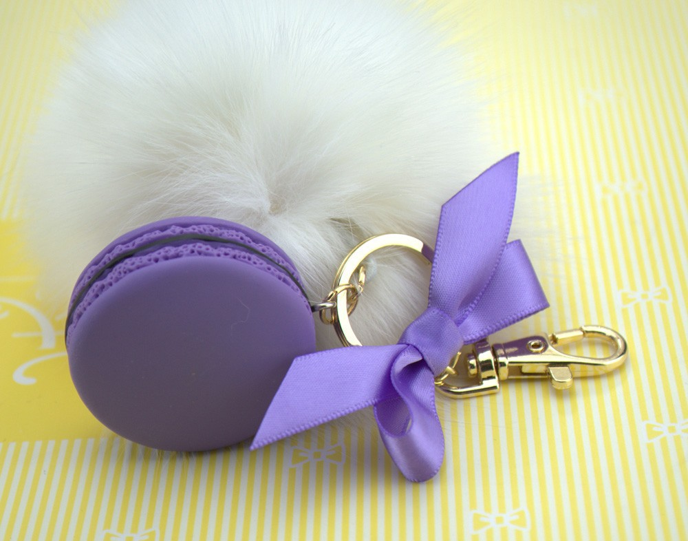 Round Key Chain France Macarons Keychains Rabbit Real Fur Ball Key - Fashion Jewelry - Photo 2