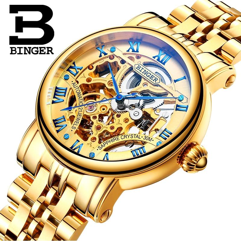 Switzerland luxury men s watch BINGER brand Hollow Out Mechanical Wristwatches sapphire full stainless steel clock